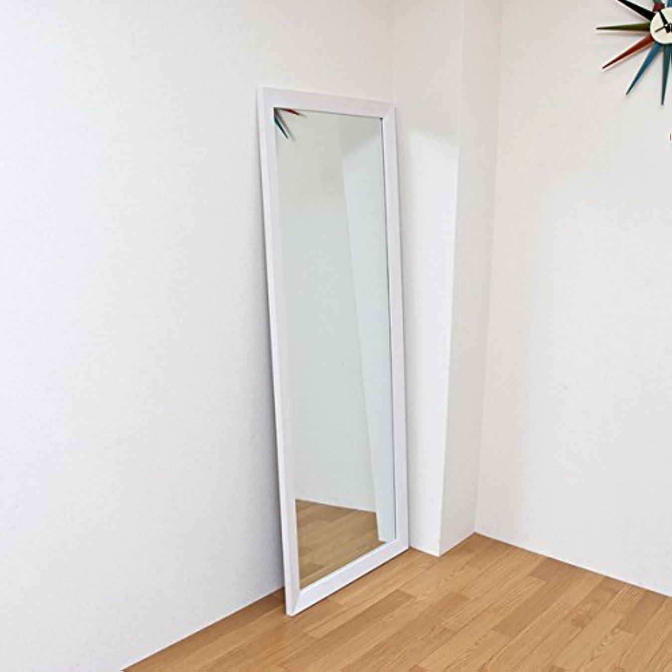 ジャンボミラー 立て掛けタイプ 幅66cm×高さ166cm[ホワイト?白]/転倒防止金具付属 大きい鏡 大型姿見