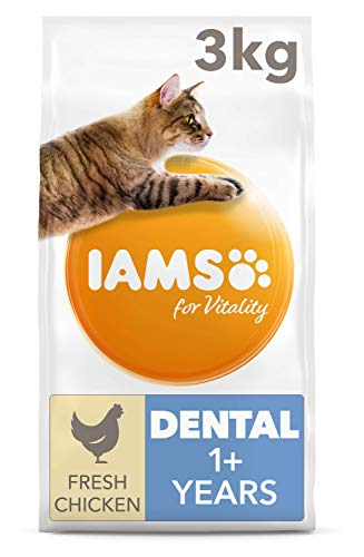 IAMS for Vitality Dental Dry Cat Food with Fresh Chicken for Adult and Senior Cats, 3 kg