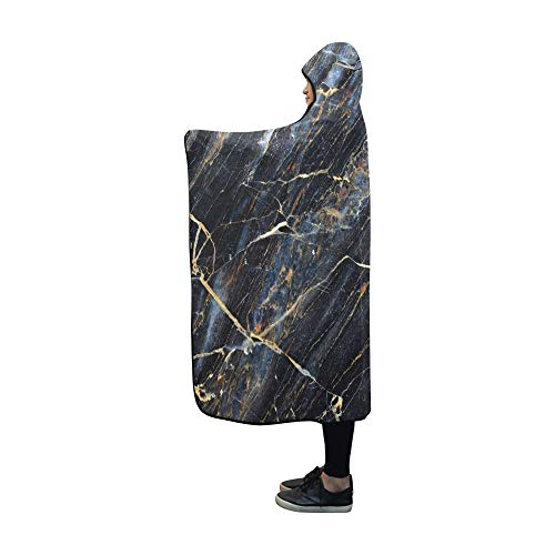 Rtosd Hooded Blanket Goldgelb ed Natürliche Dunkelgraue Decke 60x50 Zoll Comfotable Hooded Throw Wrap