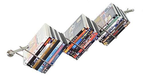 """CNM PRODUCT ® Libreria da Design"""" Onda"""". Porta Libri da Parete in Acciaio Inox Satinato Fissaggio a Sospensione con 3 Ripiani inclinati -Dimensioni 70 x 25 x 39 cm"""