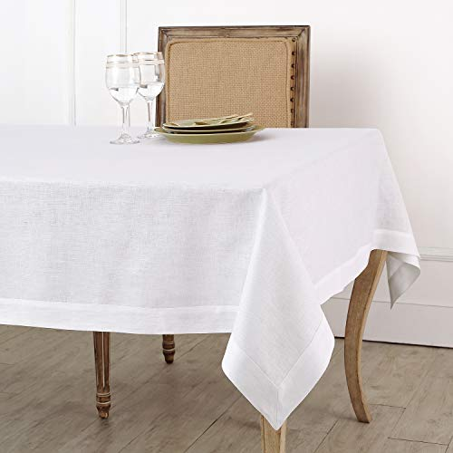 Solino Home 100% Pure Linen Tablecloth - 60 x 120 Inch White, Natural Fabric, European Flax - Athena Rectangular Tablecloth for Indoor and Outdoor use