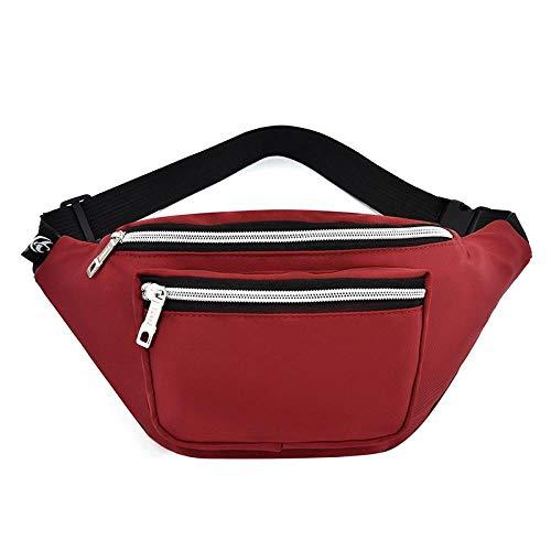 Riñonera Riñoneras para Mujer Diseño Riñonera Impermeable Riñonera De Moda Riñonera De Viaje para Mujer Bolsas De Pecho-Rojo