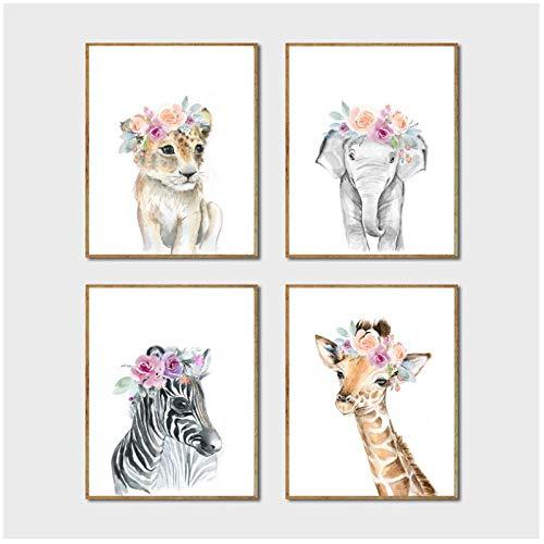 MULMF Tiere Blumen Krone Kunst Leinwand Malerei Baby Girl Drucke Tier Giraffe Elefant Löwe Wandkunst Bild Kinderzimmer Poster- 30X40Cmx4 Ungerahmt