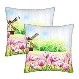 KENADVI Fundas de Almohada Tulip Flower Field Molino de Viento Western Country Style Acuarela Abstracta Funda de cojín acogedora Funda de Almohada Cuadrada para sofá de casa 18x18 Juego de 2