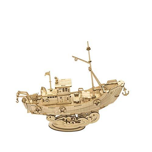 BeniRompecabezas 3D Modelo de Barco de Madera DIY Regalo de cumpleaños montado a Mano-Barco de Pesca