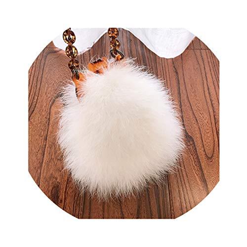 Trend R STORE Bolso de mujer de invierno con plumas de avestruz y cadena de acrílico para mujer