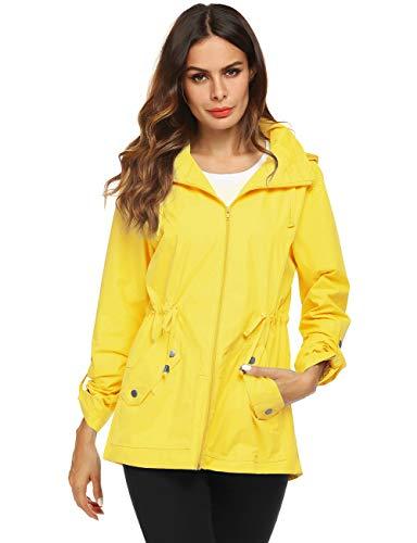 Raincoat - Chaqueta impermeable con capucha y forro de malla para mujer - Amarillo - Medium