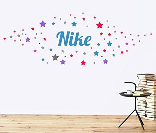 Wandtattoo Set 130 Sterne Name Nike Girl Mädchen Kind Wand Aufkleber sticker bunt Wandbild Wandsticker deko Kinderzimmer 11NS355