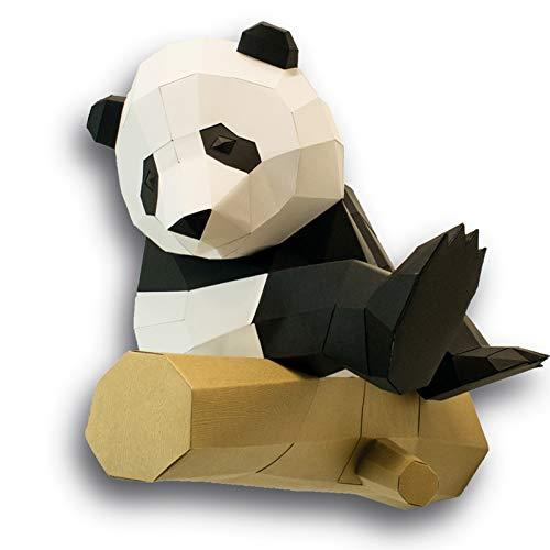 Creative Panda 3D Origami Modelo Puzzle, Panda Sentado en madera, Proceso de papel pintado de montaje de panda, precioso modelo de mano para decoración de pared del hogar. (Panda)