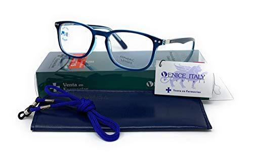 New Model 2021 Gafas de lectura con filtro bloqueo de luz azul para gaming, ordenador, móvil. Anti fatiga professional unisex venice (Azul con Blue blocking, 1.50)