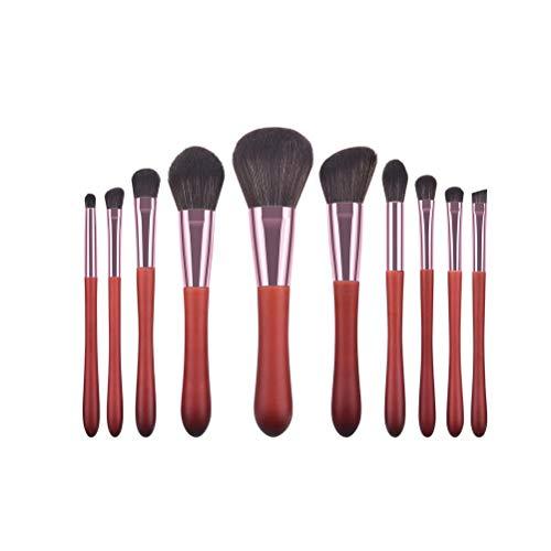 10pcs pinceau de maquillage prime soies douces brosses cosmétiques en bois pour les yeux et le visage cosmétique (rouge-brun)
