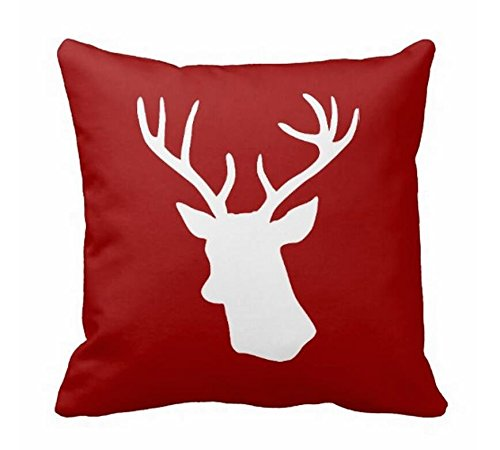White Deer Head Canvas Accent Throw Cushion Cover 45 x 45 cm Canvas Pillow Sham Pillow Protector