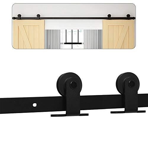 304CM/10FT Puerta de granero corredera estilo rústico puerta de granero corredera de madera para armario puerta granero herraje colgadocon guía rodamientos deslizantes, para puerta doble