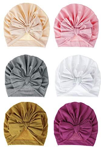 CBOO Bébé Turban Bonnets de Naissance Bandeau Cheveux bébé Fille Coton Bonnet Bowknot Belle Chapeau pour bébé Filles Infant (F)