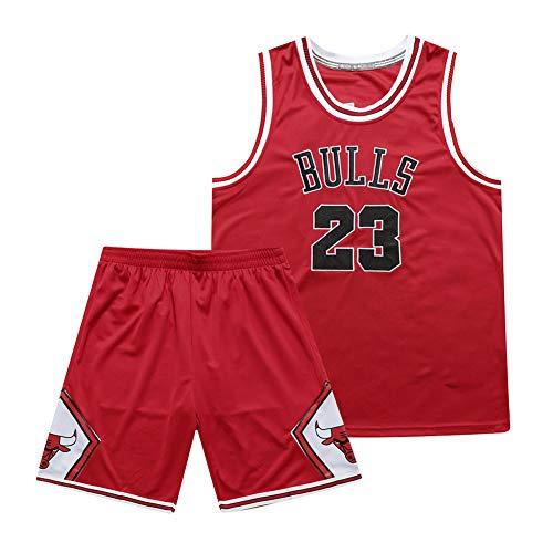 Herren Damen Basketball Trikot, Chicago Bulls 23# Michael Jordan Stickerei Atmungsaktives Swingman Trikot Set, Teenager Hip Hop Kleidung T-Shirt Top für Party (S-3XL)-red-L(175.180cm)