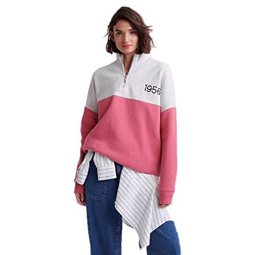 Superdry Damen ANA Half Zip Kapuzenpullover, Rosa (Dusty Pink 35Y), XXS (Herstellergröße:6)