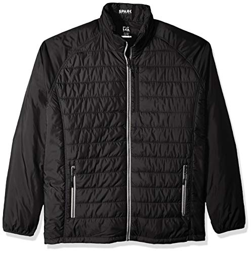 Cutter & Buck Herren Big and Tall B&T Spark Systems verstaubare Barlow Pass Steppjacke - Schwarz - XX-Large Hoch