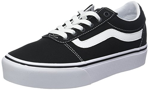 Vans Ward Platform Canvas Scarpe da Ginnastica Basse Donna, Tela/Tessuto, Nero (Canvas) Black/White 187), 38.5 EU (5.5 UK)