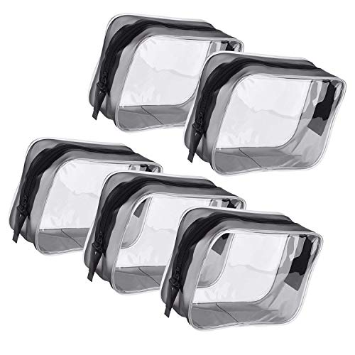 5 Pack Clear Portable Cosmetic Makeup Bag PVC Zippered Toiletry Carry Pouch for Vacation, Bathroom and Organizing (Small, Transparent)