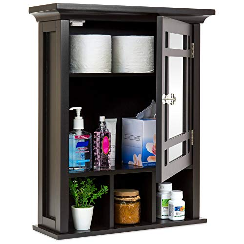 Best Choice Products Home Bathroom Vanity Mirror Wall Organizational Storage Cabinet - Espresso