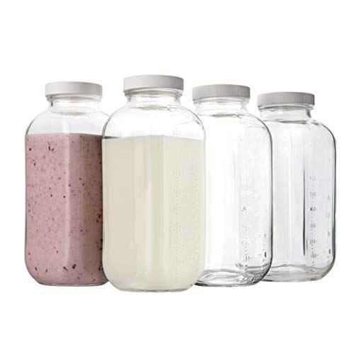 32oz Square Glass Milk Bottle with Plastic Airtight Lids Quart Sized Vintage Reusable Dairy Drinking Containers with Measurement Marks for Milk, Yogurt, Smoothies, Kefir, Kombucha, Water- Pack of 4