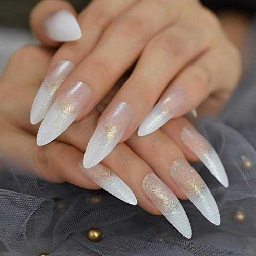 CLOAAE Extra Long Shiny White French False Nails Pressed On Predesigned False Nails For Fingerless Stickers