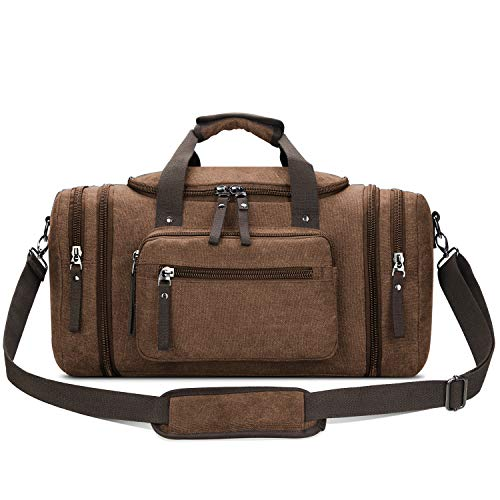 Toupons Canvas Travel Duffel Bag Men's Weekender Overnight Bag (Coffee)