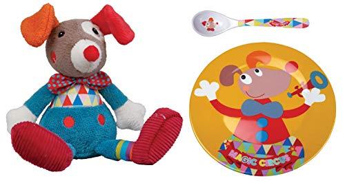 EBULOBO Set Kuscheltier Clown plus Teller und Löffel, Kollektion Magic Circus