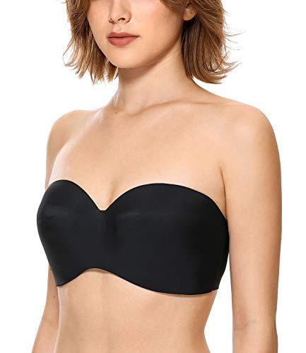 DOBREVA Women's Lightly Lined Bras T Shirt Wirefree Strapless Bustier Bra (AA-D Cup) Black 38AA