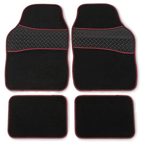 Safe Travel 27752 Universal Car Mats, Heavy Duty Rubber Heel Pad, Red...