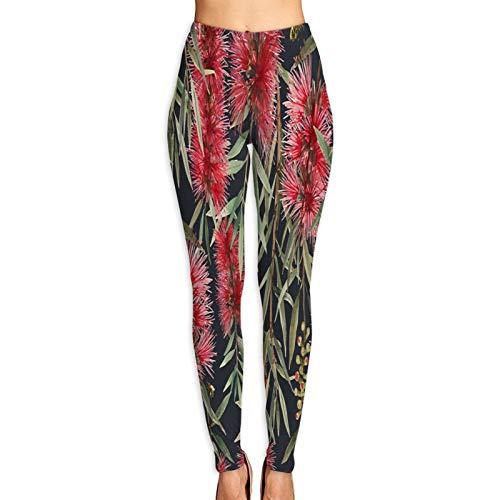 Pantalones de Yoga para Mujer,Acuarela Patrón Tropical Callistemon Flor Roja,Pantalones de Entrenamiento...