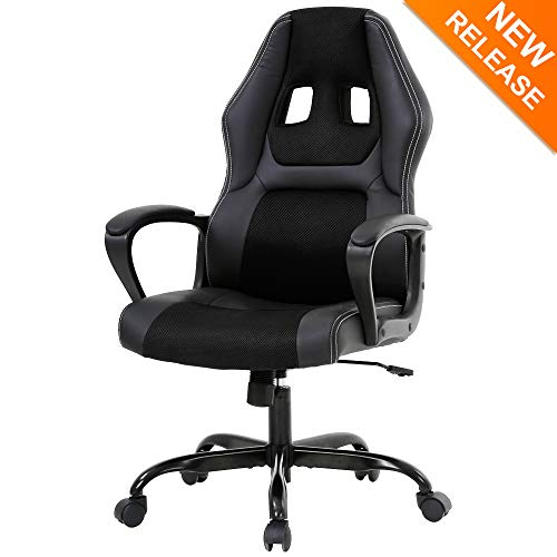 High-Back Gaming Chair PC Office Chair Computer Racing Chair, Meet Perfect Ergonomic Desk PU Leather Task Swivel Home Office Executive Chair Headrest and Lumbar Support for Men Women- Black black chair gaming