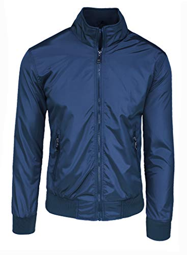Chaqueta de hombre casual Primavera Verano chaqueta sudadera moto #E1 Azul Bolsillos con cremallera M