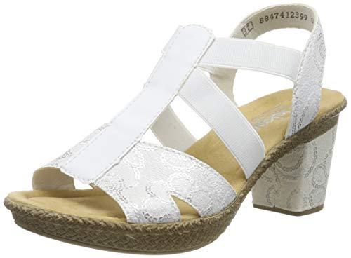 Rieker Damen 66504-80 Geschlossene Sandalen, Weiß (Weiß-Silber/Weiß 80), 39 EU