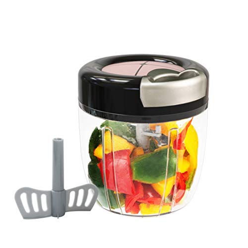 MIGECON Manual Food Chopper with 5 Blades, Hand Pull Blender Grinder Food Processor for Vegetables/Meats/Fruits/Salad/Herbs/Onions/Garlic (3.5Cup Black)