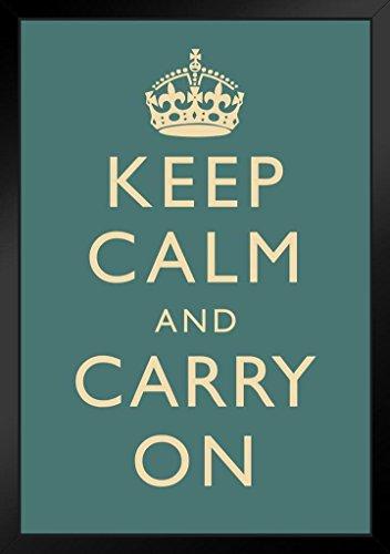 Keep Calm Carry On Motivational Inspirational WWII British Morale Slate Black Wood Framed Poster 14x20