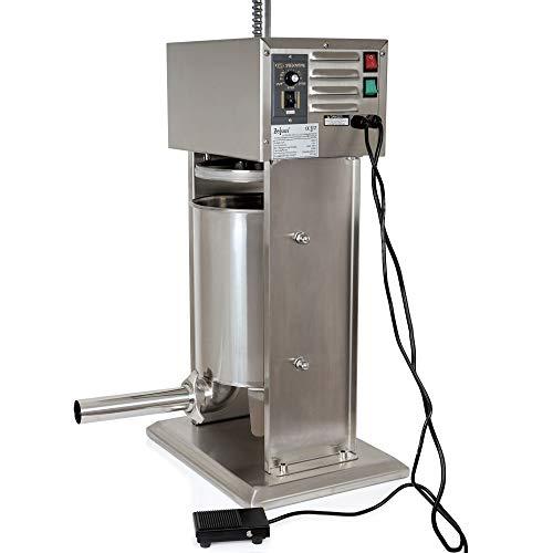 Zelsius Profi Wurstfüllmaschine aus Edelstahl (10 Liter (elektrisch), Silber) + vier verschiedene Füllrohre, Wurstfüller, Wurstpresse, Wurstmaschine mit 2-Gang-Getriebe und Entlüftungsventil