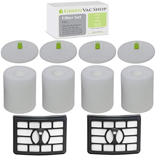 GreenVacShop 4+2 Pack Shark Rotator Professional Lift-Away NV500, NV501, NV502, NV503, NV505, NV510, NV520, NV552, UV560 Replacement Filter Set, 4 Foam+4 Felt+2 HEPA Filters, XFF500 XHF500