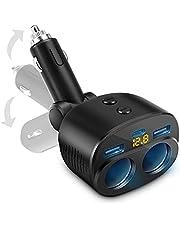 Rocketek USB Autolader Sigarettenaansteker Verdeler,Dubbele USB Poort USB C Voedings Adapter, LED Voltmeter met Onafhankelijke Schakelaar, Geschikt Voor Mobiele Telefoon, Tablet, GPS Rijrecorder enz.