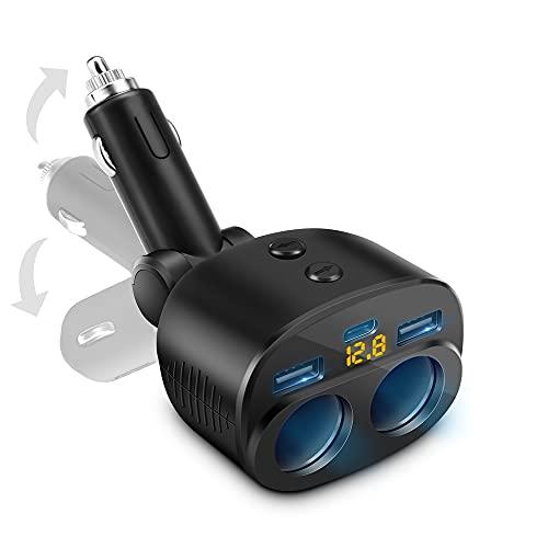 Cargador De Coche USB Distribuidor De Encendedor De Cigarrillos,Adaptador De Enchufe USB C,Voltímetro LED con Interruptor Independiente Apto para Teléfono Móvil Tableta Grabadora De Conducción GPS.