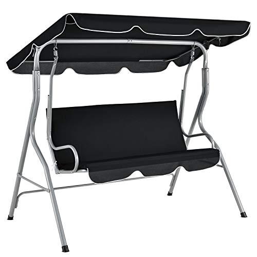 ArtLife Hollywoodschaukel 3-Sitzer mit Dach & Sitzauflage – Gartenschaukel 200 kg belastbar – Schaukelbank für Garten & Terrasse - schwarz