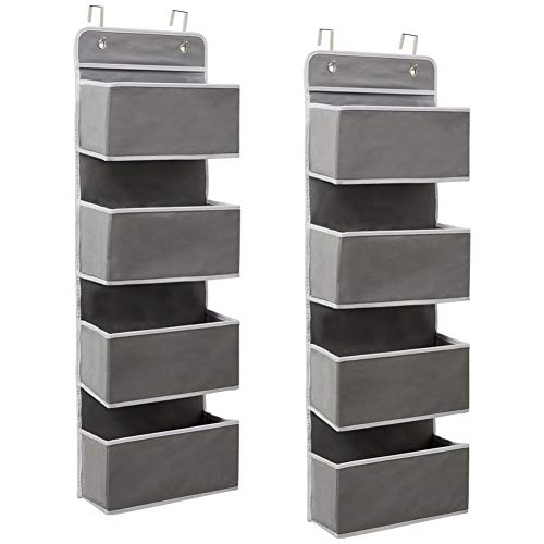 EZOWare 2 Stück 4 Fächer Hängeorganizer, Multifunktionale Hängender über der Tür Organizer für Handtücher, Spielzeug (Grau)