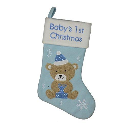 Calcetín de Navidad para bebé en tono azul claro, con texto en inglés «Baby