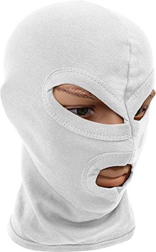 normani Balaclava Sturmhaube Sturmmaske, 3-Loch, dünn, weiß, 100% Baumwolle Farbe Weiß