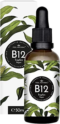 Vitamin B12 - 50 ml (1750 Tropfen) - Mit beiden aktiven Formen Methyl-& Adenosylcobalamin. Laborgeprüft. Vegan. Ohne Zusätze. In Deutschland produziert