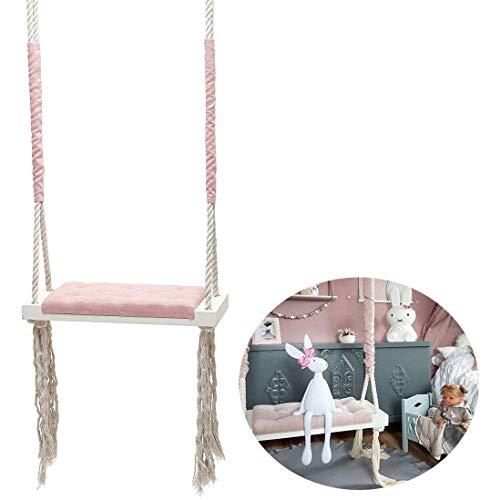 HNAKET Outdoor Schaukel Mit Kissen Sitz Kind Indoor Massivholz Spielzeug Schaukel Junge Prinzessin Mädchen Kinderzimmer Dekoration Möbel,Pink,Withaccessories