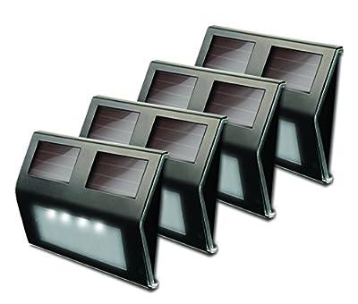 MAXSA Innovations 47334-BZ Metal Solar LED Deck Light 4 Pack
