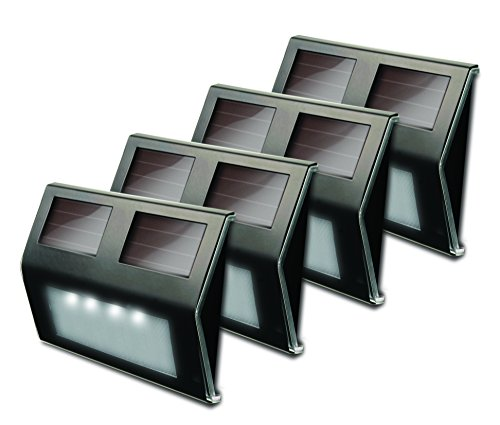 MAXSA 47334-BZ Weatherproof Solar LED Lights for Decks and Steps (4-Pack), Bronze Stainless Steel