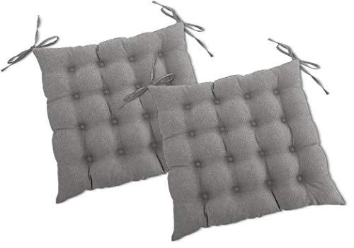 wometo 2er Set Sitzkissen Stuhl OekoTex 40x40 cm - grau Sitzauflage Auflage Polster Stuhlkissen Sitzpolster mit Bändern