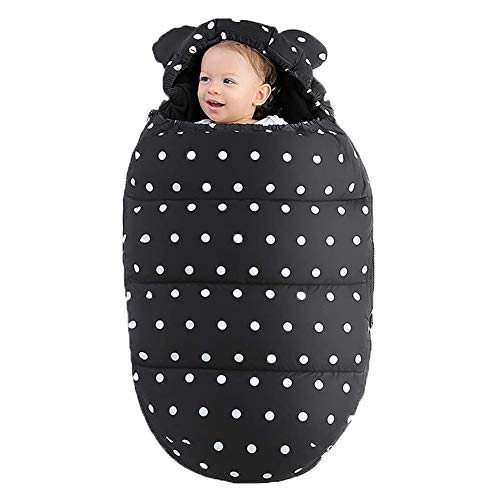 DXQDXQ Anti Kick Unique Pram Footmuff Universal Cosy Toes Bunting Bags Winter Warm Windproof Waterproof For Pushchairs Strollers Buggy Car Seat,Black Blankets